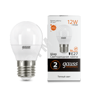 Лампа Gauss LED Elementary 12W 53212 3000K E27 шар