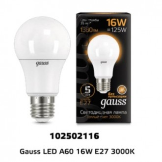 Лампа Gauss LED A60 16W 102502116 3000K E27