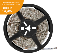 Светодиодная лента Gauss 5050SMD 60Led/m 12V WarmWhite 14.4w/m 3000K IP20