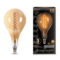 Лампа Gauss LED Vintage Filament 150802008 A160 E27 8W 2400K Golden